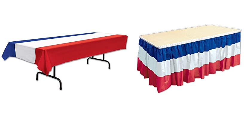 Beistle Patriotic Tablecover (red, white, blue) Party Accessory (1 count) (1/Pkg) with Beistle 52170-RWB Patriotic Table Skirting, 29
