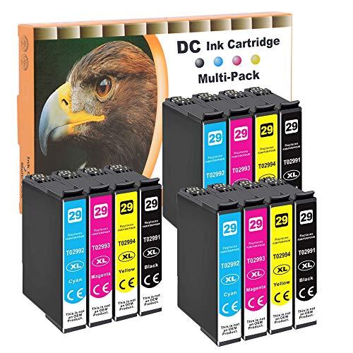 D&C 12 cartuchos de tinta compatibles para Epson 29XL T2991 T2992 T2993 T2994 para Epson Expression Home XP-430 XP-430 Series XP-432 XP-435 XP-440 XP-442 XP-445 XP-452 XP-455 XP-235 XP-247. XP-255.