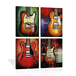 Abstract Guitar Music Wall Art Canvas Red Purple Prints Paintings Home Decor Decal Life Pictures 4 Panel Large Posters HD Printed for Bedroom Living Room Wooden Framed Ready to Hang(12x16, 4 Panels)