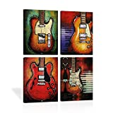 Abstract Guitar Music Wall Art Canvas Red Purple Prints Paintings Home Decor Decal Life Pictures 4 Panel Large Posters HD Printed for Bedroom Living Room Wooden Framed Ready to Hang(12'x16', 4 Panels)