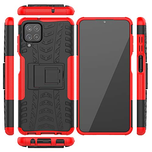 Jielangxin Keji Case for Samsung Galaxy M12 Case Cover,Case for Samsung SM-A125F/DSN Galaxy A12 2020 / SM-A125M/DS SM-A125F/DSN SM-A125F SM-A125M SM-A125N Case Shockproof Mobile Phone Case Stand Red