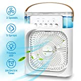 NTMY Portable Air Conditioner Fan, Personal Mini Evaporative Air Cooler with 7 Colors LED Light, 1/2/3 H Timer, 3 Wind Speeds and 3 Spray Modes for Office, Home, Dorm, Travel