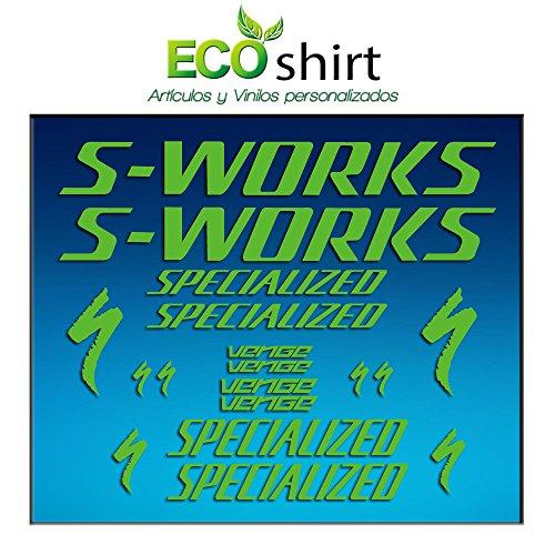 Ecoshirt HX-1D4V-Noble Aufkleber Frame Sworks S-Works Venge Pro Vias Am31 Stickers Aufkleber Decals Adesivi Bike BTT MTB Cycle, Grün
