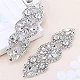 2pieces Crystal Applique Small Size with Silver Rhinestones for Wedding Dress Decoration or Headpieces Garters