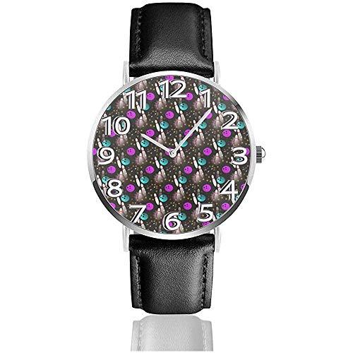 Nacht Spaß Bowling Uhren Pu Leder Armbanduhr Quarzuhr