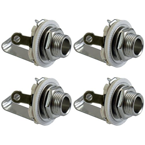 "GLS Audio 1/4"" Jacks Female TS Mono Panel Mount Jack - 4 Pack"
