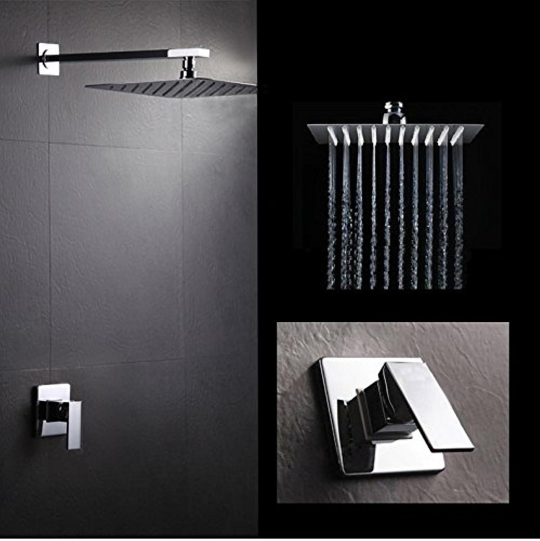 Luxurious shower Kostenloser Versand Badezimmer Produkte in der Wand montiert Badewanne Armatur Mischbatterie Regendusche Set mit 12 Zoll SUS304 Spiegel Duschkopf