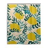 Orediy Duschvorhang, Zitronen & Blätter, wasserdicht, Polyester, mit Haken für Badezimmer-Dekor, 153 x 183 cm