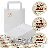 10 kleine weiße Papiertüte Papiertasche Geschenktüte Henkel 18 x 8 x 22 cm + 24 schwarz beige...
