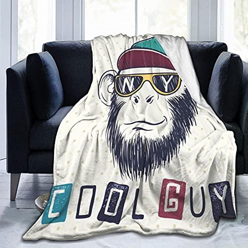 Coperta Flannel in Pile,Fantastico scimpanzé scimmia vestito con occhiali da sole e berretto con le iniziali della Morbido Accogliente per Bambini Ragazzi Adulti Coperta per Letto e Divano 125x100cm