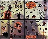 UMIPUBO Adhesivos para Ventana De Halloween,Terror Cabezas de Calabaza Castillos de Brujas,Adhesivos Reutilizables para Decoración De Fiestas De Halloween, Adhesivos Estáticos De PVC