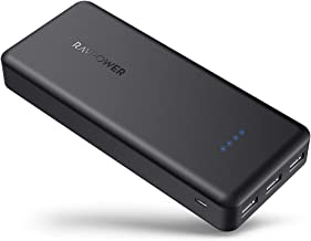 Portable Charger RAVPower 22000mAh Power Bank External Battery Pack with 5.8A Output 3-Port (iSmart 2.0 USB Ports,) Cell Phone Charger Battery (Black)