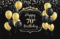 新しい幸せな70歳の誕生日の背景7x5ftブラックとゴールドのバルーンキラキラドット写真の背景70歳の母男性女性70歳の誕生日のお祝いお祝い画像boothプロップデジタル壁紙