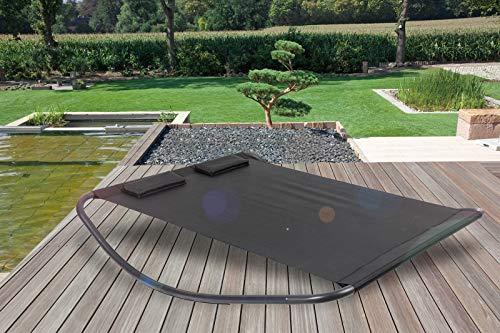 OUTFLEXX Doppelliege, schwarz, Stahl/Textilene, 180x200x48cm, inkl. 2 Kopfkissen