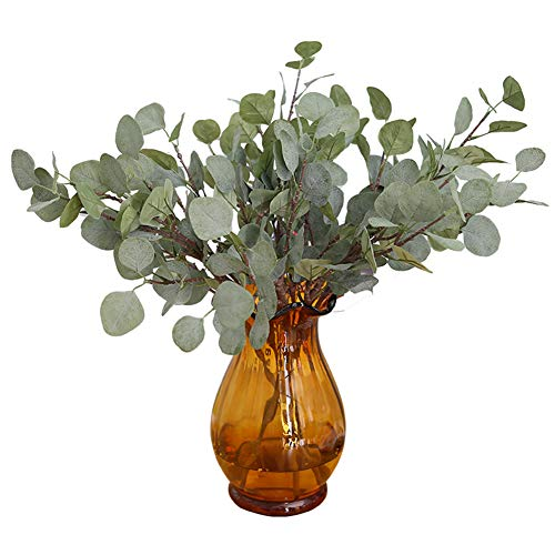 xixili441 1Pc Artificial Eucalyptus Leaves Greenery Leaves Faux Silver Dollar Eucalyptus Greenery Plant for Wedding Jungle Theme Party Decor Grey White