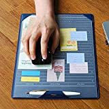 Multi-Purpose PU Leather Mouse Mat Non-Skid Gaming Mouse Pad Desktop Protector Office Home Writing Pad Planner Organizer Pad with Pen Loop and Transparent Sheet for Notes Memo to-do List