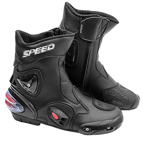 YMXYMM Botas de Moto para Hombres,Botas de Motociclista Impermeables Antideslizantes,Zapatos cómodos de Tobillo Alto,para Botas Deportivas blindadas para Scooter de Servicio Pesado,Black-43