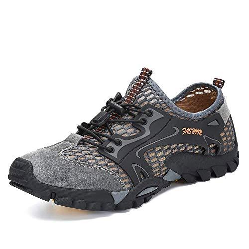 SITAILE Water Shoes Men Women Quick Dry Barefoot Aqua Swim River Shoes for Pool Beach Hiking Walking Shoes Gray Size 12.5 Women/10 Men