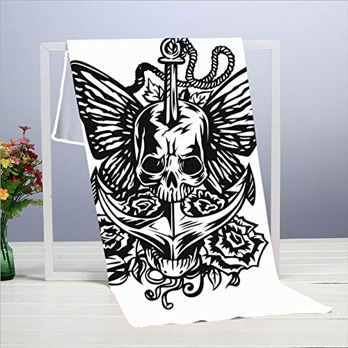 best pillow Abstract Grunge Skull Tattoo The Arts Toallas 40 X 70 Cm / 15.7 X 27.5 Pulgada, Toalla para Muebles, Baño, Playa, Yoga, Camping, Natación, Deportes, Hotel y SPA Etc. Necesidades diarias