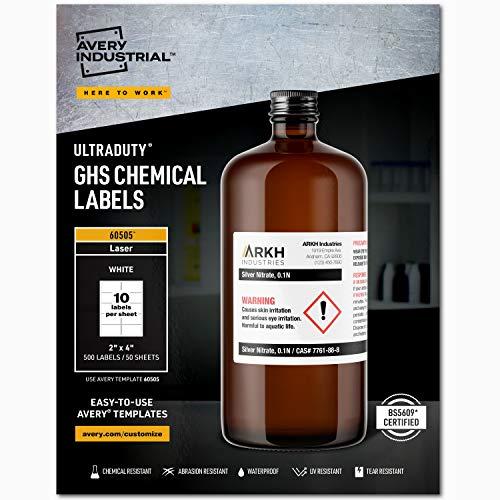 Avery Etiquetas de produtos químicos UltraDuty GHS para impressoras a laser, à prova d'água, resistente a UV, 5 cm x 10 cm, pacote com 500 (60505), branco