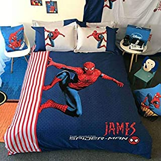Sunday 4 Piece Boys Spiderman Bedding Cover Set, Queen Size 3D Superhero Character Bedding Duvet Cover