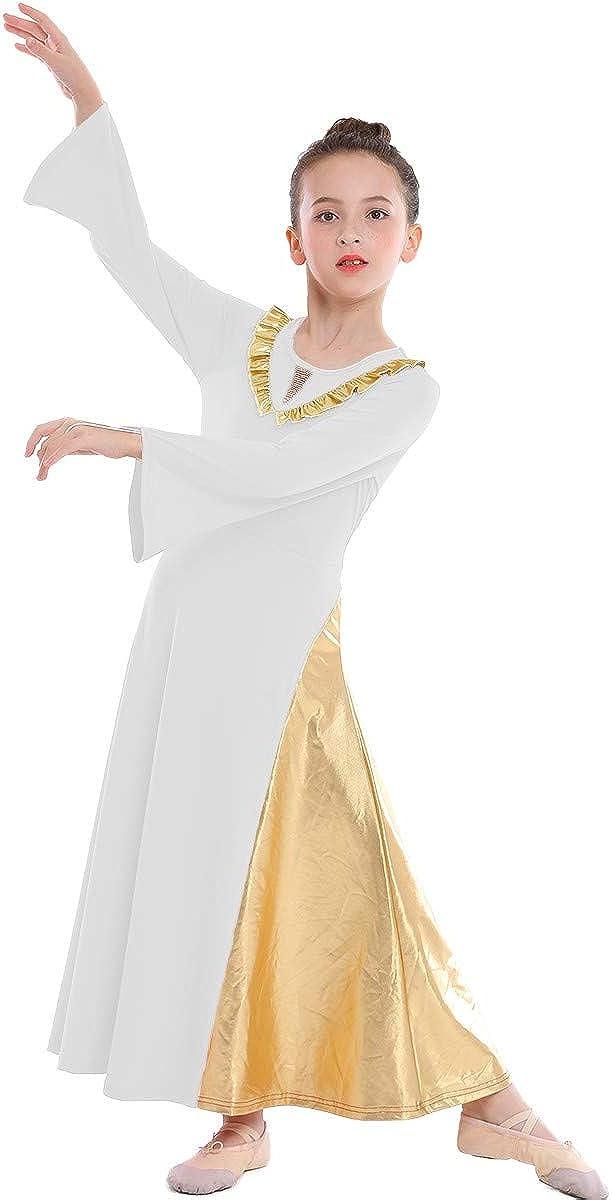 MYRISAM Girls Gold Metallic V-Shaped Sales results No. 1 Liturgical Praise Max 84% OFF Da Ruffle