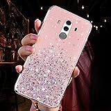 QPOLLY Funda Glossy Compatible con Huawei Mate 10 Pro,Transparentes Star Glitter Bling Funda Ultra Delgada Silicona Suave TPU Gel Bumper Protectora Transparente a Prueba de Golpes Funda,Rosado
