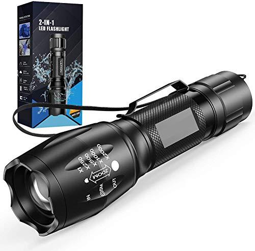 Lampe UV 2 en 1 Lampe de Poche,Lampe Torche led 500 Lumens Puissante,4 Modes Zoomable, 395nm Lumière Ultraviolet, pour Le Camping Ménage,La Randonnée,D'urgence Chien/Chat Détecteur d'urine Ampoules UV