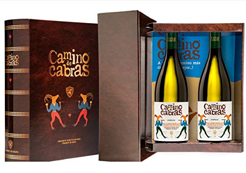 CAMINO DE CABRAS Estuche de vino - Godello - vino blanco – D.O. Valdeorras – Producto Gourmet - Vino para regalar - Vino Premium - 2 botellas x 750 ml.