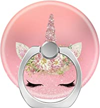 360 Degree Finger Stand Cell Phone Ring Holder Car Mount with Hook for Smartphone-Unicorn Lashes Pink Rose Gold Glitter Flowers