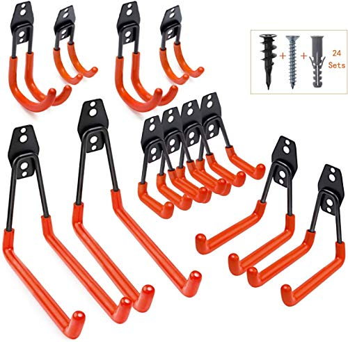 Gerätehaken, 12 Stück Garage Storage Doppelhaken Utility Doppelhaken Wandhaken Multi Größe Heavy Duty Eisen Werkzeughalter zur Wandmontage, Fahrrad, Leitern oder Massenartikel