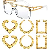 Quantity: you will receive 1 pair of 80s hip-hop sunglasses, 1 pair of round hip-hop earrings, 1 pair of square hip-hop earrings, and 1 pair of heart shape hip-hop earrings, with modern temple designs and unique look, wonderful accessories for costum...