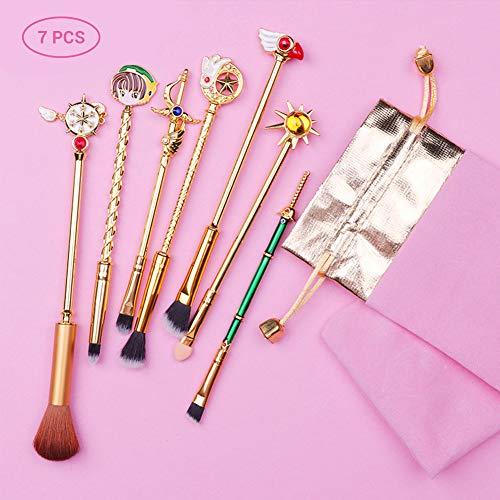 Daxoon 7Pcs Zauberstab Lidschatten Make-up Pinsel Set Metall Synthetisches Kosmetik Pinsel Für Gesichtsmake-up