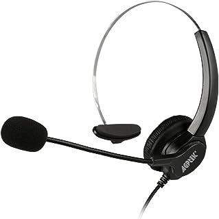 AGPtek USBヘッドセット ハンズフリー片耳式USBエントリータイプ PCオーバーヘッドフォン ブラック
