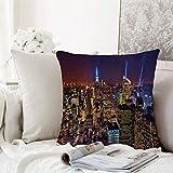 Fangguan decoración Cuadrada, Nueva York, hito del Paisaje Urbano aéreo Imagen de Arte Moderno del Penthouse de la Independencia del CU,Funda de Almohada Almohada para Coche Almohada para sofá casero