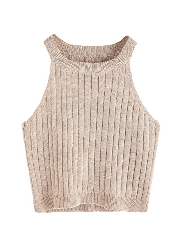 SweatyRocks Women's Knit Crop Top Ribbed Sleeveless Halter Neck Vest Tank Top (Small, Apricot)