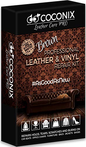 Coconix Brown Leather and Vinyl Repair Kit - Restorer of Your Couch, Sofa, Car Seat and Your Jacket - Super Easy Instructions - Restore Any Material, Genuine, Italian, Bonded, Bycast, PU
