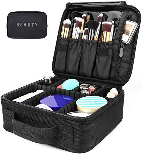Neceseres De Maquillaje, Pulchram Bolsa De Maquillaje Para Viaje Impermeable Organizador De Maquillaje Con Divisiones Extraíbles Bolsas De Aseo De Cosmética Bolsas Para Mujer &Hombre (Negro 3)