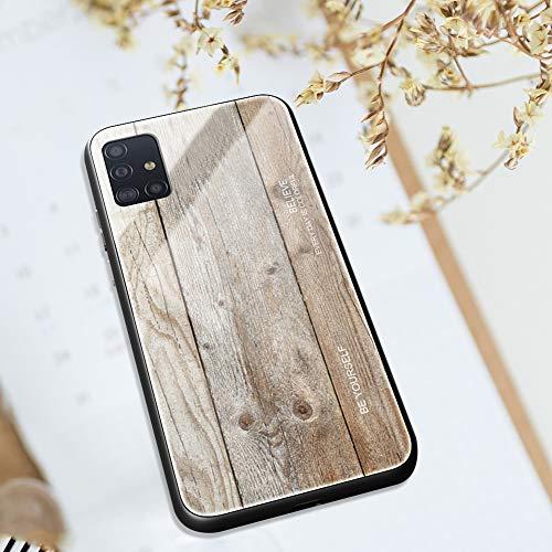 Ysimee kompatibel mit Samsung Galaxy A51 Hülle - Holz Design Gehärtetes Glas Zurück mit Weiche TPU Silikon Rahmen Schutzhülle Silikon Bumper Schutz vor Stoßfest/Scratch HandyHülle, Holz -4
