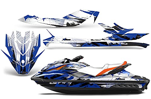 AMR Racing Jet Ski Graphics kit Sticker Decal Compatible with Sea-Doo GTI SE130 2011-2019 - Carbon X Blue
