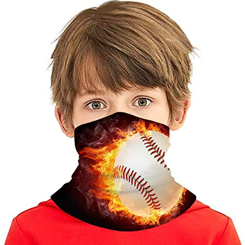 Fire Baseball Boys Bandanas for Dust Girls Neck Gaiter Kids Face Cover Magical Multi Funtion Uv Protection Headband Seamless Scarf Reusable Half Face Protective Funtion Balaclava