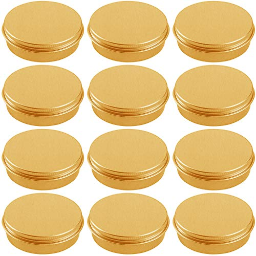 Hulless 2 Ounce Aluminum Tin Jar Refillable Containers 60 ml Aluminum Screw Lid Round Tin Container Bottle for Cosmetic, Lip Balm, Cream, 12 Pcs Gold