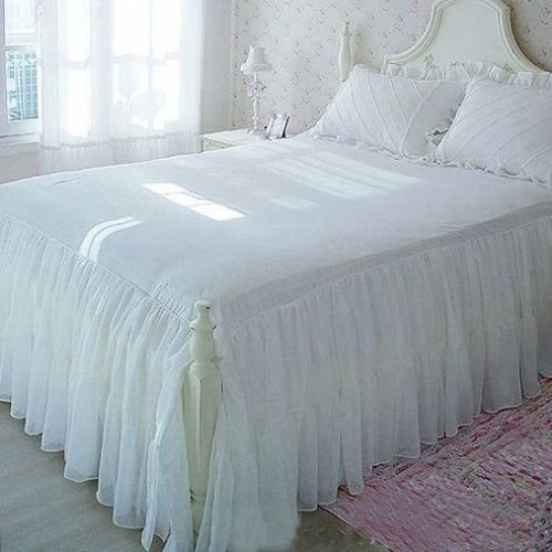 Swanleke Victorian Romantic Two Layers Exquisite Chiffon/Cotton White Bed Skirt 1409 (Full)