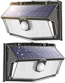 2-Pack LITOM 300 LED Solar Motion Sensor Lights Outdoor