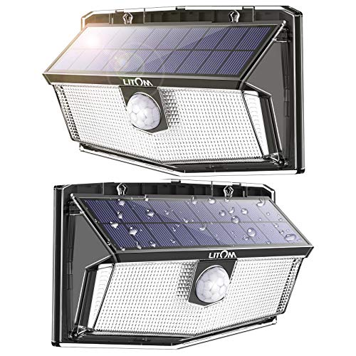 300 LED Solar Lights Outdoor, Super Bright Flood Lamp with Motion Sensor and Higher Security, IP67 Waterproof &2500 mAh Battery, Easy-to-Install Wireless Lantern for Patio Yard Garage, 2 Pc
