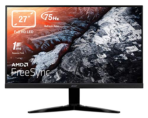 Acer KG271bmiix 27 Inch FHD Gaming Monitor, Black (TN Panel, FreeSync, 1ms, ZeroFrame, HDMI, VGA)