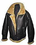 Men's Brown Flying B3 Real Shearling Ginger Sheepskin Leather Bomber Jacket (XL)