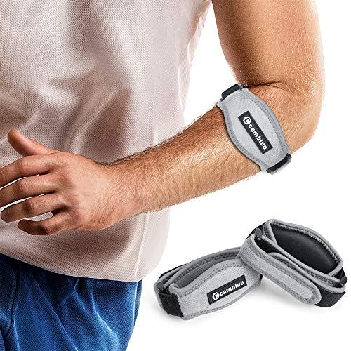 CAMBIVO 2 x Ellenbogen Bandage Damen und Herren, Sportbandage, elastische Tennisarm und Golferarm Manschette mit Kompressionspolster für Sport, Fitness, Tennis (Grau)