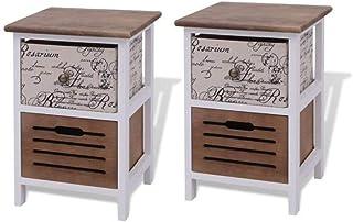 Bedside Cabinets Wood (2 Pcs)
