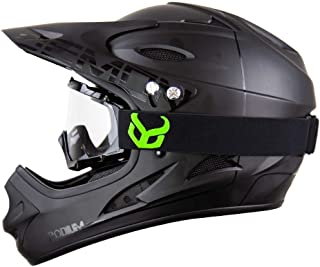 Demon United Podium Black/Black Full Face Mountain Bike Helmet- BMX Helmet- with Demon Viper MTB Goggles- 3 Goggle Color Options Available